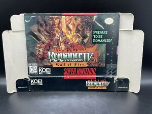 SNES Romance Of The Three Kingdoms IV Wall Of Fire Complete BOX ONLY NO GAME