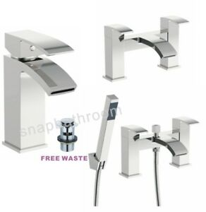 Modern Bathroom Tap Square Waterfall Basin Sink Bath Filler Shower Mixer Tap Set