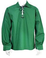 Schottisch Dunkelgrün Jakobiten Ghillie Kilt Hemd Lederband Größe S,M,L,XL,XXL