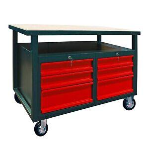Werkbank Werktisch Arbeitstisch 6 Schubladen mit Rollen, fahrbar, abschließbar