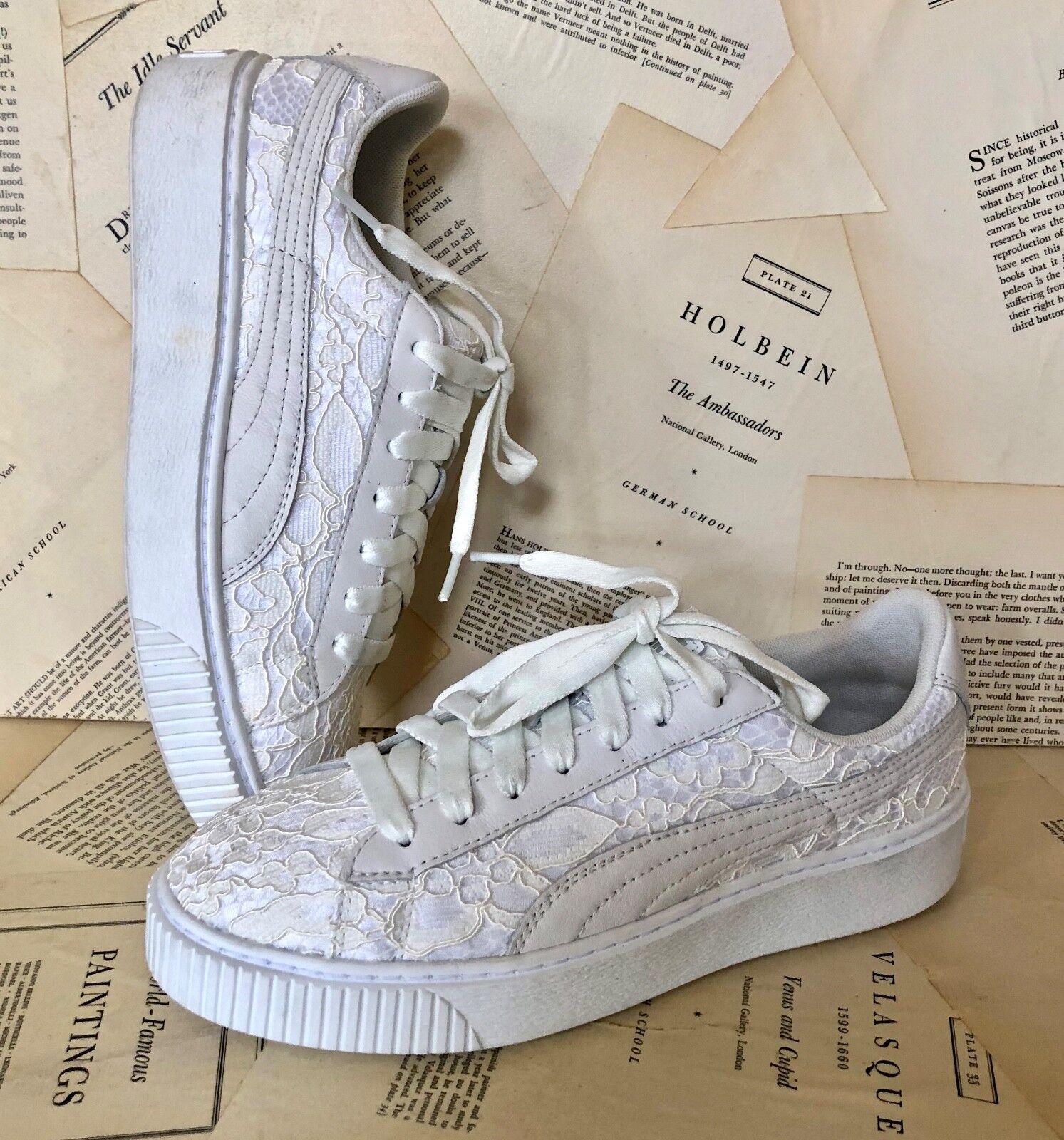 Nuevo Puma blancoo Marfil Plataforma Floral encaje Zapatilla 41 41 41 10  cómodo
