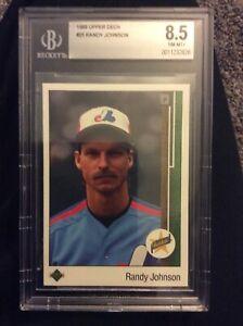 1989 Upper Deck Randy Johnson card #25 Expos Rookie RC HOF Graded BGS 8.5