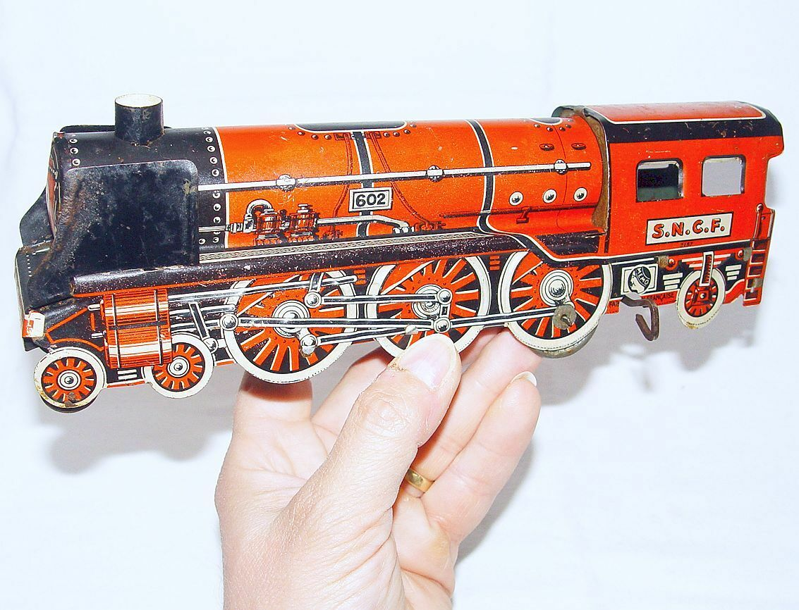 Memo France 27cm SNCF Pacific 602 STEAM LOCOMOTIVE Tin Wind-Up Toy Train NM`48