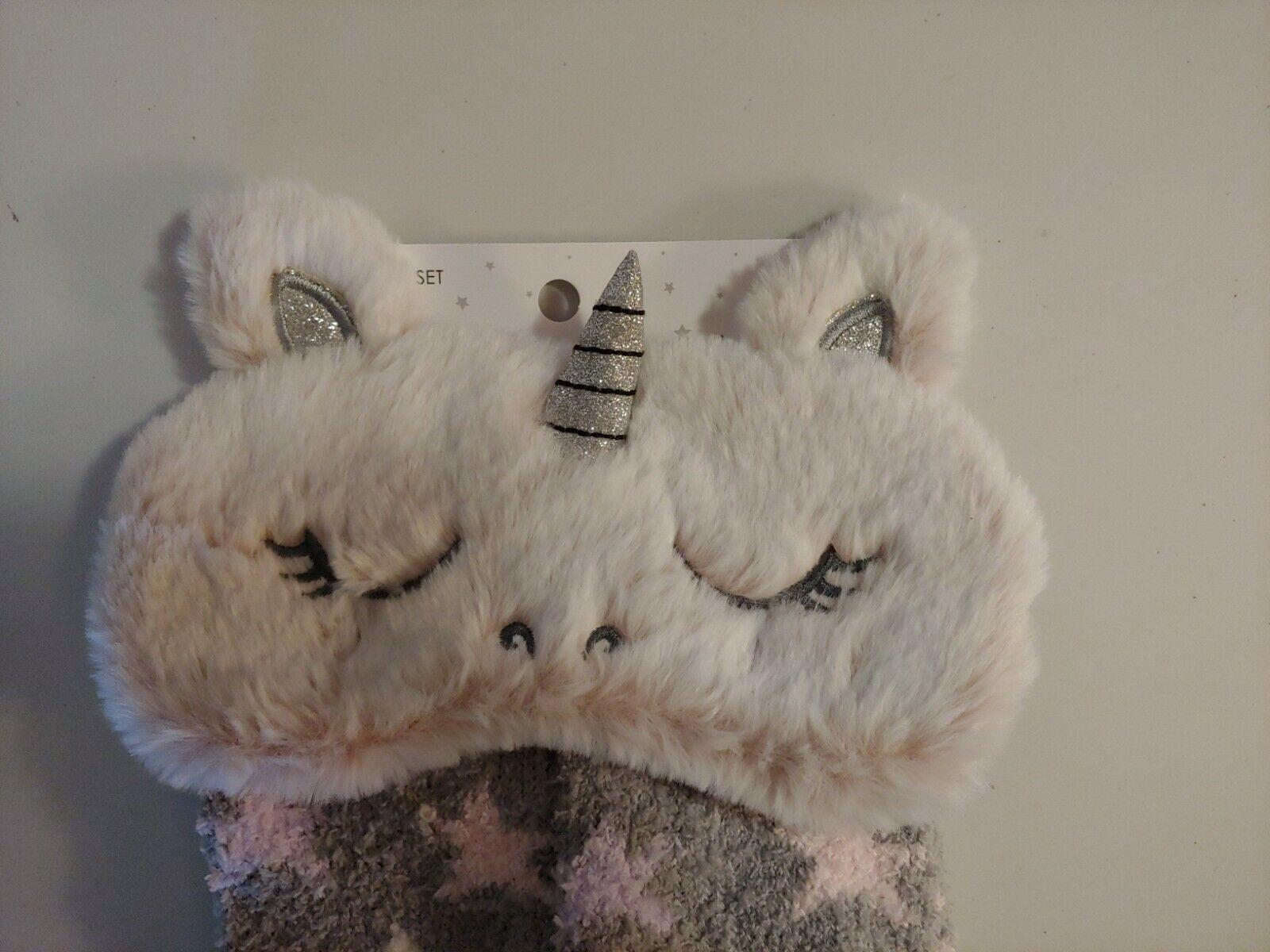 NWT UNICORN Eye Mask and Sock Set Cozy Women -2 Piece. B3