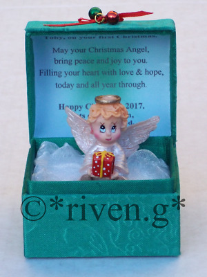 PERSONALISED CONFIRMATION Angel Gift Box@Glass@Card Verse@GODSON@GODDAUGHTER SET