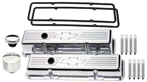 BILLET SPECIALTIES POLISHED SHORT VALVE COVERS,CHEVY BOWTIE,BREATHER,CAP,RIB,SBC