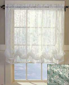 Ivory lace balloon shade curtain 60 w x 61 l kitchen living room home decor ebay for Balloon curtains for living room