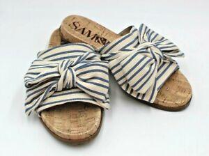 Sam & Libby Womens Sandals 7.5 Slides Blue Bow Cork Sole Shoes
