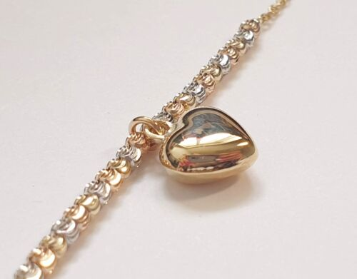 NEW /& BOXED 9CT YELLOW GOLD MULTICOLOURED BEAD HEART BRACELET RRP £130