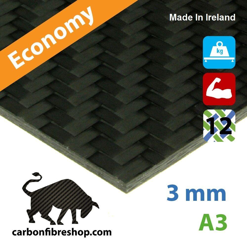 ECONOMY Plaque en fibres de carbone 3mm [Un côté brillant] 420x297x3mm