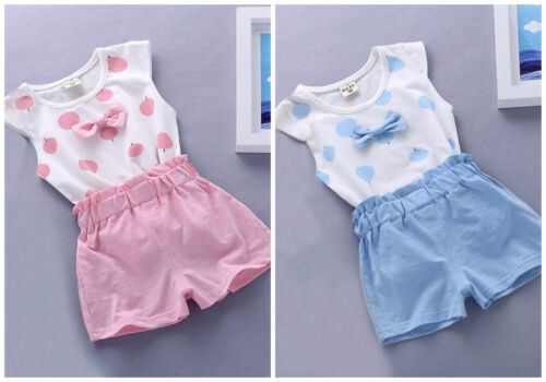 Baby toddler girls summer cotton clothes Tank short pants Kids outfits bowknot