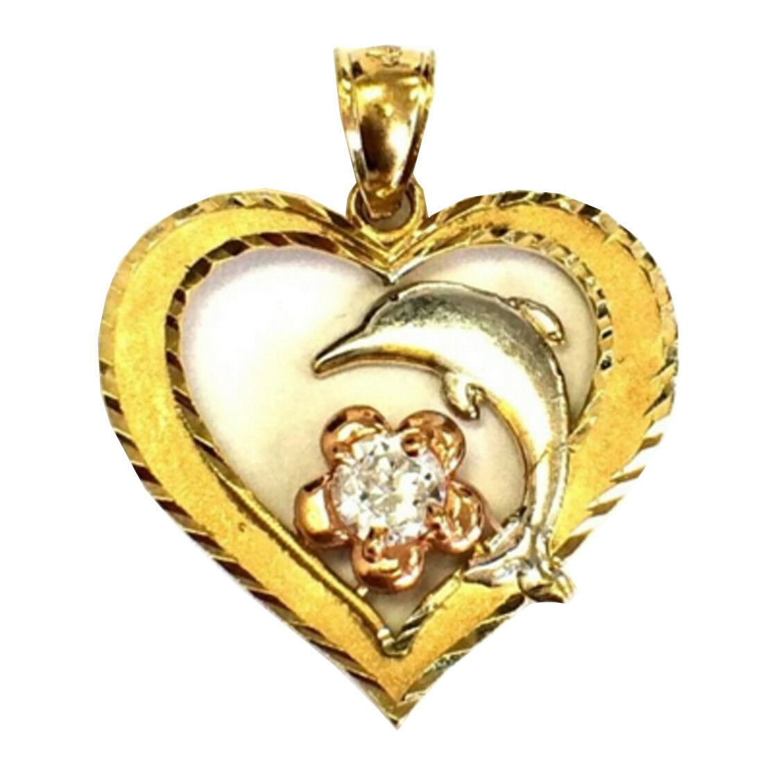 10k Solid Tri Tone gold Flower Heart Dolphin Pendant Simulated Diamonds Charm