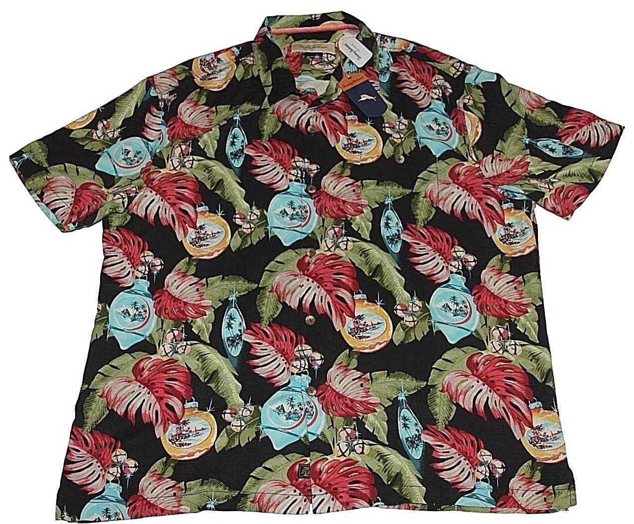 Tommy Bahama Shirt Camp Shirt Bahama With Bells On Onyx BT317742 Nuovo 100% Silk  Sz XLT NWT 8fceca