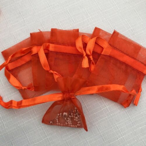 20 STUNNING SMALL  LUXURY ORANGE ORGANZA GIFT BAGS 7cmX5cm earrings small beads