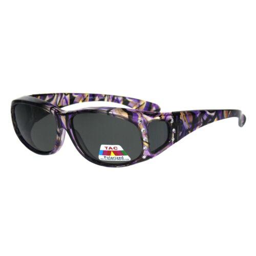 Polarized Rhinestone Geometric 55mm Translucent Plastic Fit Over Sunglasses