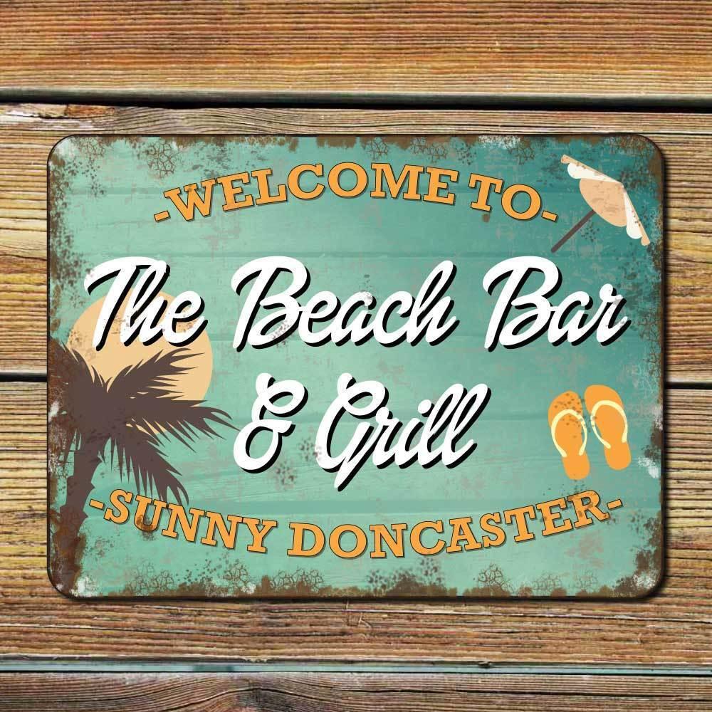 BEACH Sign, personalizzata detriti effetto OLD SIGN, PUB Outdoor HOME BAR SIGN