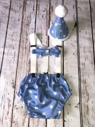 Baby Boy 1st Birthday Cake Smash Prop Baby Blue Stars Outfit Handmade