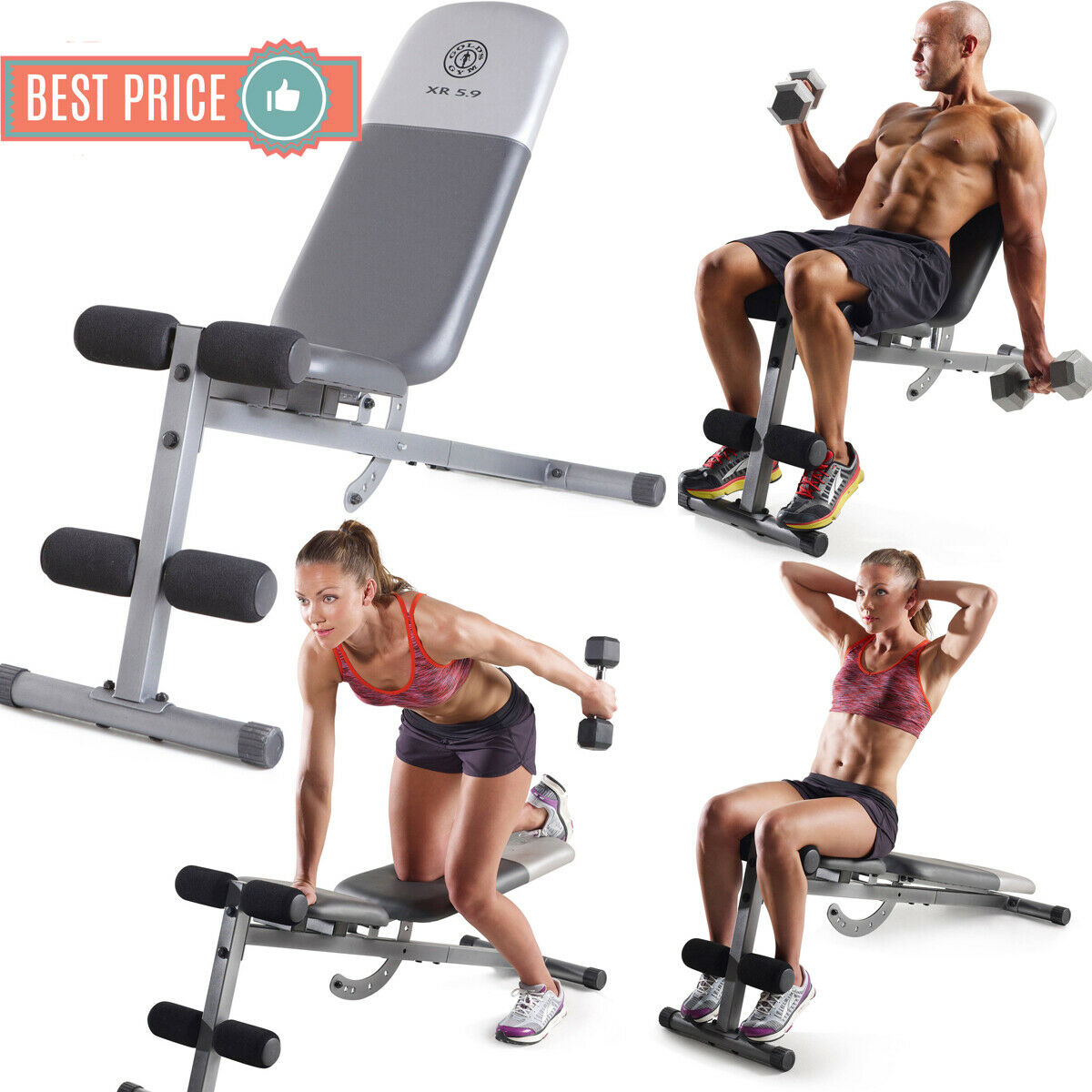 ADJUSTABLE WEIGHT BENCH Flat Incline Decline Full Body home Workout Exercise