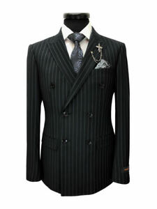 PAMONI Black Pinstripe Double Breasted Slim Fit Suit