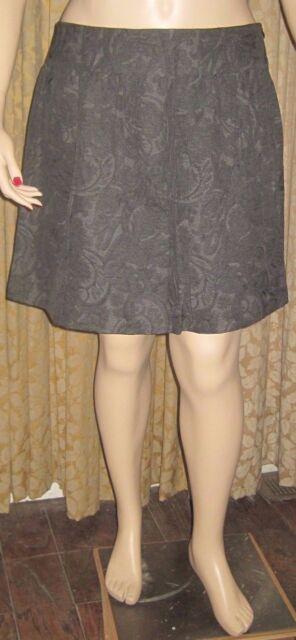 Garnet Hill Size 18 Black & Gray Paisley Fully Lined Skirt