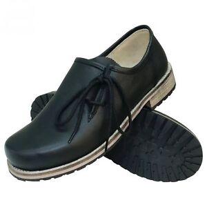 Trachtenschuhe Haferlschuhe Glattleder schwarz Herrenschuhe Leder Schnür-Schuhe