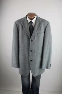 Hugo-Boss-blau-graues-Tweed-Sakko-Gr-98-M-Wollmischung-mit-Angora-Top-Zustand