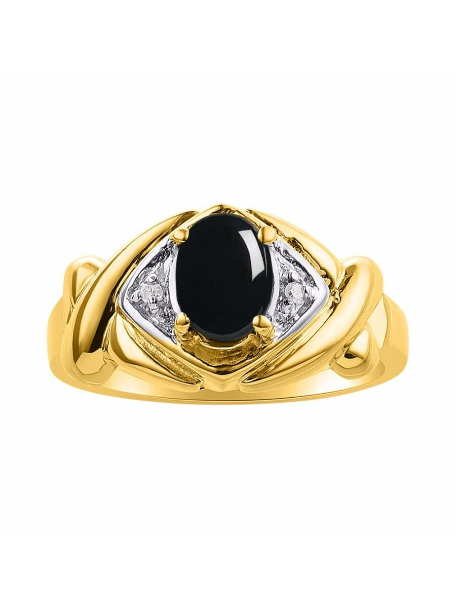 Diamond & Onyx Ring Set In 14K Yellow gold - XO Hugs & Kisses - color Stone Birt