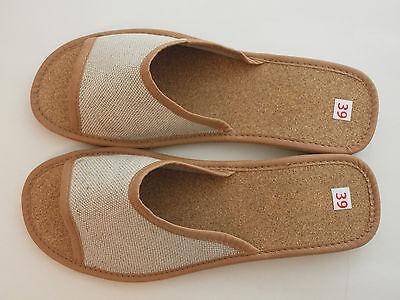 Para Mujer Damas Natural Lino Ropa De Cuero Slipper mulas Con Sandalias Playa