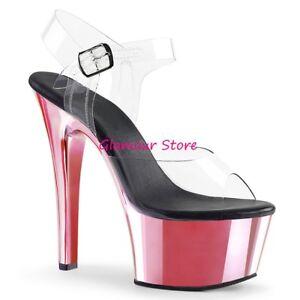 Sexy SANDALI tacco 15 ROSA/TRASPARENTE plateau cinturino scarpe CLUB da 35 a 41