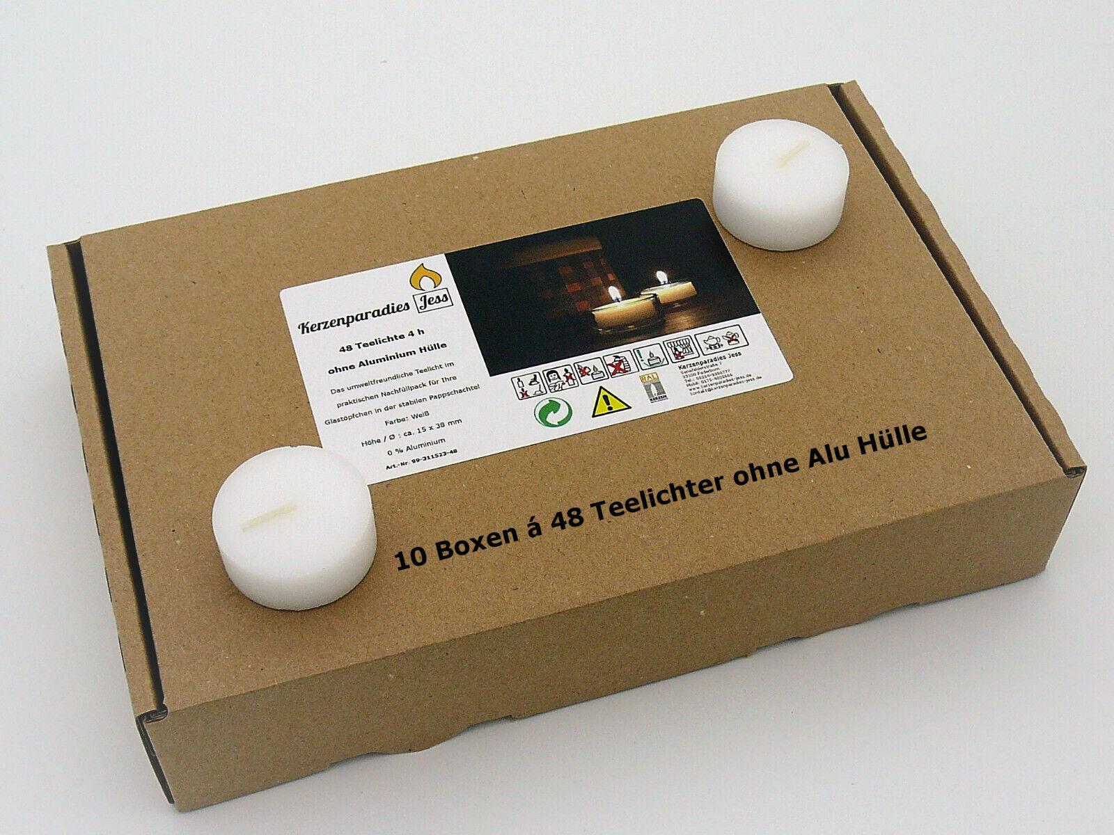 480 Teelichter Weiß ohne Alu Hülle ohne Folie Rohlinge Nachfüllpack Glasbehälter