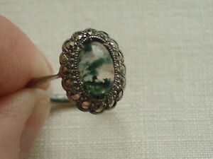 ANTIQUE VINTAGE STERLING SILVER MARCASITE amp SCOTTISH MOSS AGATE RING - Slough, Berkshire, United Kingdom - ANTIQUE VINTAGE STERLING SILVER MARCASITE amp SCOTTISH MOSS AGATE RING - Slough, Berkshire, United Kingdom