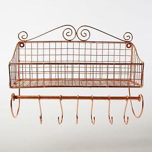 wandablage kupfer eisen metall gew rzregal haken draht wandregal ablage belle ebay. Black Bedroom Furniture Sets. Home Design Ideas