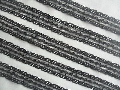 4 Meter Spitze breit Schwarz 2,5cm elastisch Borte elegante 583 N