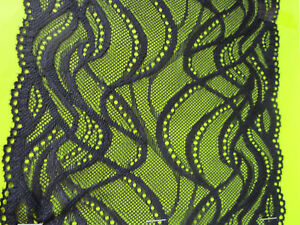 ELEGANTE-Schwarz-SPITZE-elastisch-Borte-Lace-17-5cm-breit-MODE
