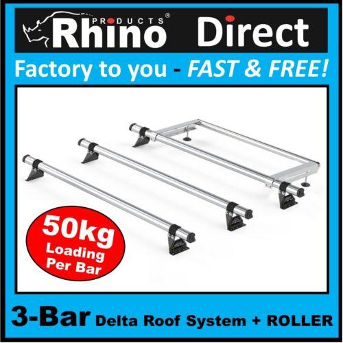 Citroen Dispatch Rhino Roof Rack Bars Roller 3xBar Delta 2016on MWB TWIN DOORS