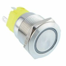 White LED On- On Momentary 19mm Black Vandal Resistant Push Switch SPST