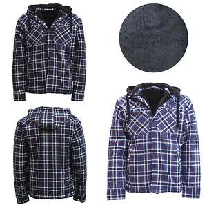 New-Men-039-s-Sherpa-Fur-Fleece-100-Cotton-Flannelette-Hoodie-Button-Up-Jacket-Warm