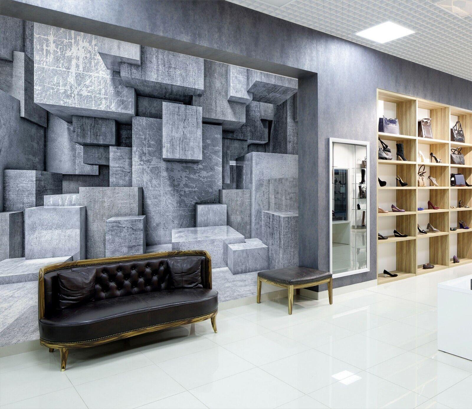 3D Quadratisch schwarz M141 Geschäft Tapete Wandgemälde Selbstklebend Handel An