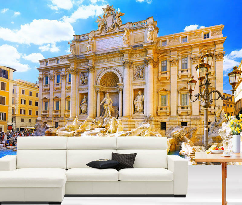 3D Trevi Fountain Rome Ita Full Wall Mural Photo Wallpaper Print Paper Home Deco
