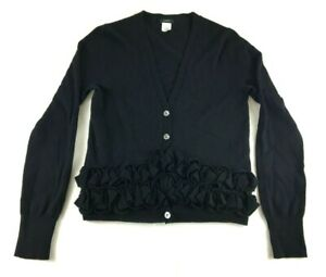 J-Crew-Womens-Black-Long-Sleeve-Merino-Wool-Sweater-Cardigan-Size-Small