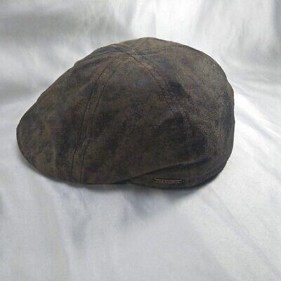 Stetson Leather Flatcap Duck Cap Gatsby Slide Cap Texas 62 Braun Antique