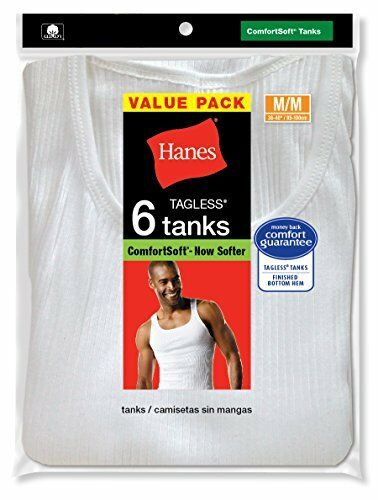 NEW Hanes Mens FreshIQ ComfortSoft Tanks White Medium Pack of 6 FREE SHIPPING