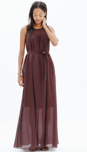 39f1c1fa71c Image is loading MADEWELL-Shirred-Silk-Maxi-Dress-In-Deep-Burgundy-