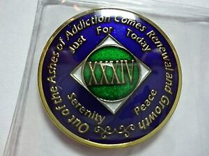 NA Black Gold Coin 3 Year Tri-Plate Narcotics Anonymous Medallion Out of Ashes