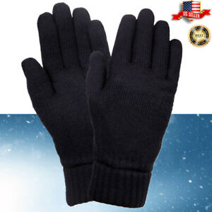 Unisex-Winter-Knit-Thermal-Extra-Warm-Soft-Cozy-Lining-2-Layer-Black-Gloves-Lot