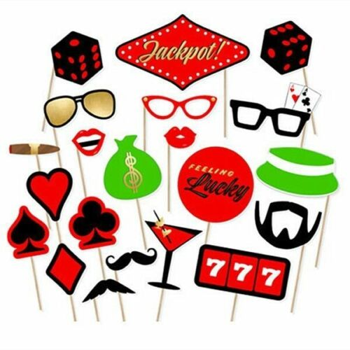 22pcs Funny Casino Themed Photo Booth Party Props on Stick