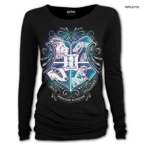 Spiral-Ladies-Black-Harry-Potter-HOGWARTS-Crest-L-Sleeve-Top-All-Sizes