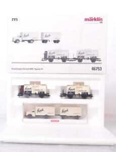MARKLIN-46753-HO-GAUGE-3-RAIL-GERMAN-DRG-034-STORK-CARAMEL-034-TANKER-amp-LORRY-SET