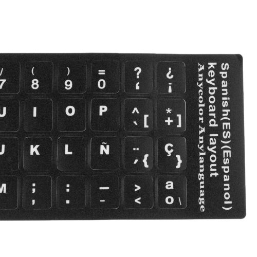 10Pcs Spanish White Letters Keyboard Stickers Laptop Protector Cover Film