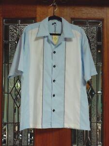 Men-039-s-Stripe-Vintage-50-039-s-60-039-s-Rockabilly-Charlie-Sheen-Style-Bowling-Shirt